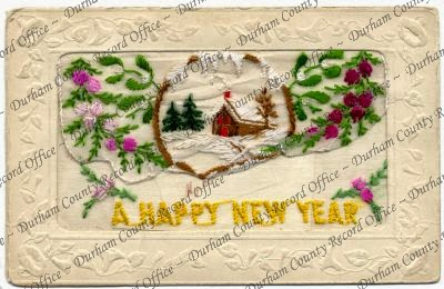 Embroidered postcard with winter scene (D/DLI 7/531/2)