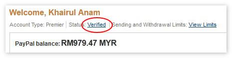 Akaun PayPal yang dah verify