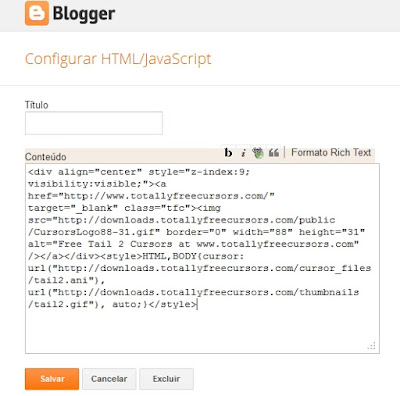 Adicionar código - HTML/JavaScript