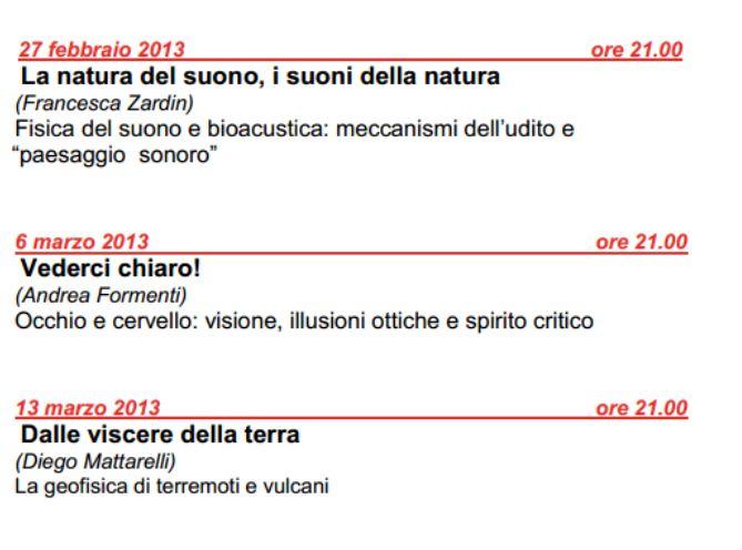 Scienza gratis Auditorium Milano fino a maggio 2013 divulgazione scientfica programma