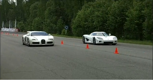 white bugatti veyron vs white koenigsegg ccxr in hot drag race car enthusia. Black Bedroom Furniture Sets. Home Design Ideas