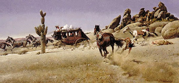 Western Painting Stage Coach Runnaway Horse by Robert McGinnis || art, artist, Carriage, Cowboys, Favorite, Fine Art, Grand Canyon, Horse, Horses, Illustration, Illustrator, Inspiration, Landscape, Mountains, painting, Paintings, Robert McGinnis, Stage Coach, West, Westerns,