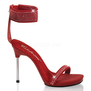 High heel sandals with red ankle cuff decorated with rhinestones