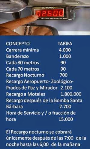 DE UTILIDAD PARA USTED- TARIFAS DE TAXIS EN PEREIRA