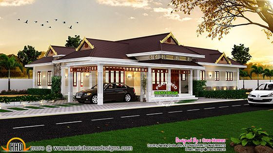 Elegant traditional kerala house kerala home design for Colonial style home design in kerala