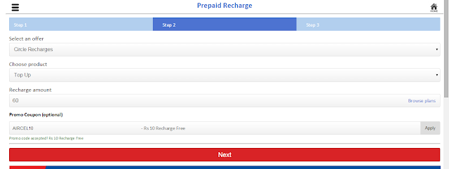 Rs 10 cashback on aircel recharge of Rs 50