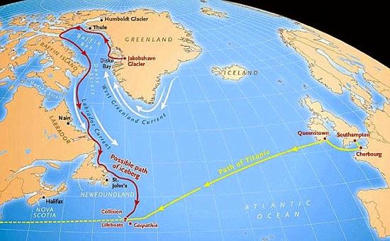 Mapa do percurso do Iceberg que afundou o Titanic
