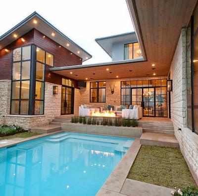 casa moderna de campo con piscina
