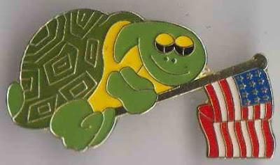 America Flag Waving Turtle