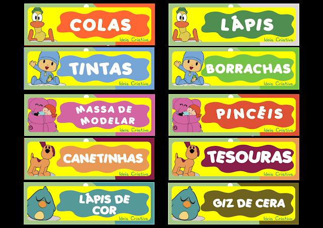 Etiquetas para organizar material Pocoyo
