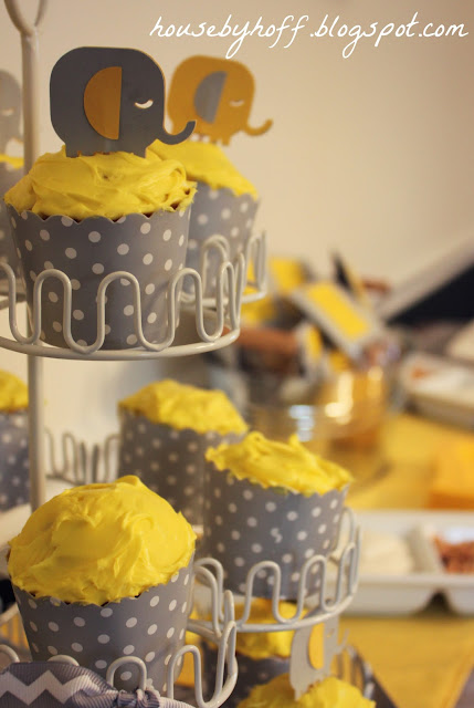 gray and yell baby shower with free printable wishes for baby via housebyhoff.blogspot.com