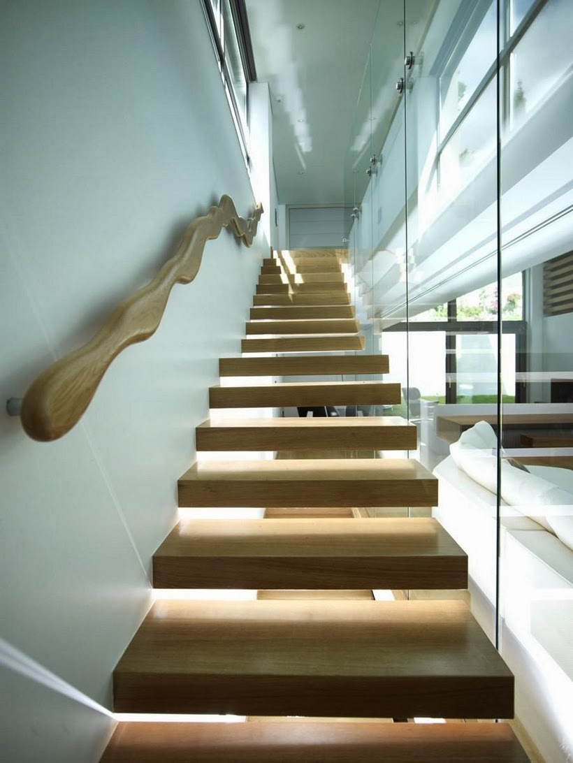 Wooden stairs in Modern Mansion in Dionysos