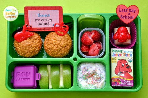 Clifford the Big Red Dog bento school lunch in Go Green Lunch Box