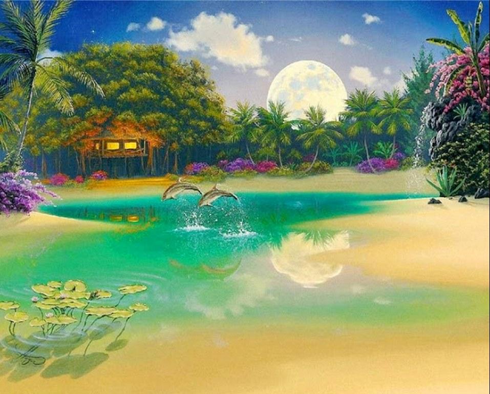 Pinturas cuadros lienzos paisajes de hawai for Cuadros pintados al oleo