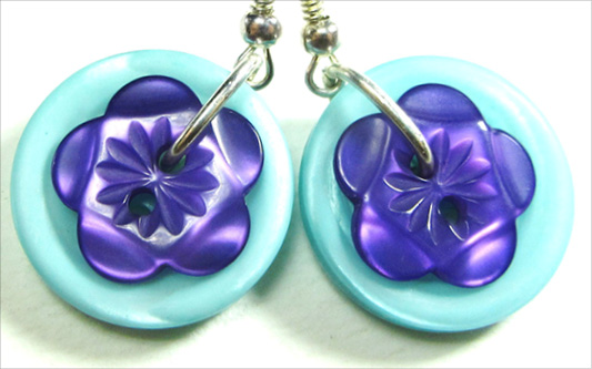 Cute Earrings have carved flower buttons over colorful fashion buttons