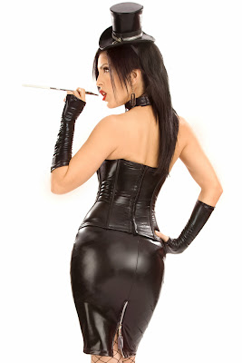 Stunning Faux Leather Skirt and Bustier Set, Dress to Impress