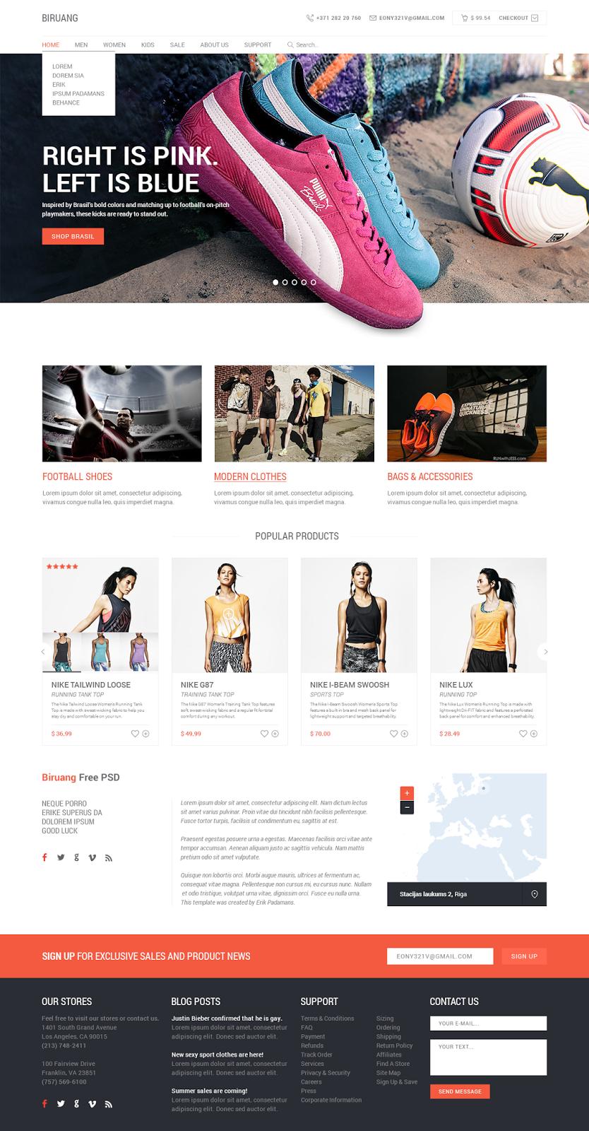 Biruang E-commerce PSD Website Template