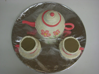 Tea Set Cake - Teapot and Teacups - Overhead View