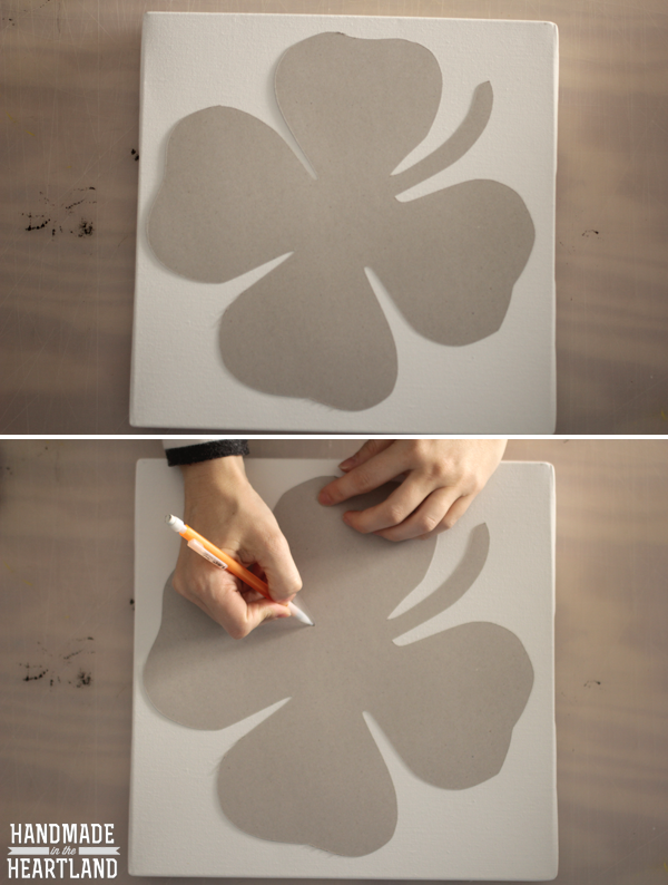 DIY Lucky Shamrock Canvas Art, tutorial