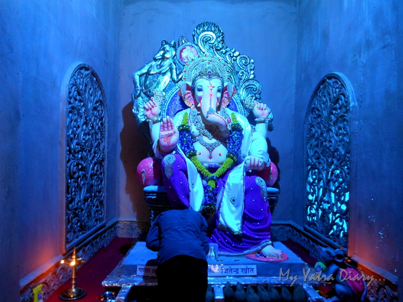 A decorative majestic Lord Ganesha, Ganesh Pandal Hopping, Mumbai