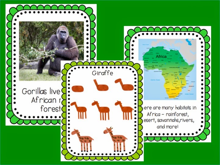 http://www.teacherspayteachers.com/Product/African-Jungle-Animals-Habit-and-Literacy-Pack-137610