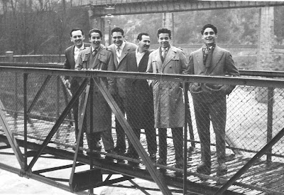 Los ajedrecistas Lorenzo Ponce Sala, Andreu Cabezas, Ricard Ribera, Vallès, Jaume Anguera y Lluis Coll