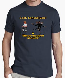 Camiseta Monkey Island un mono de tres cabezas