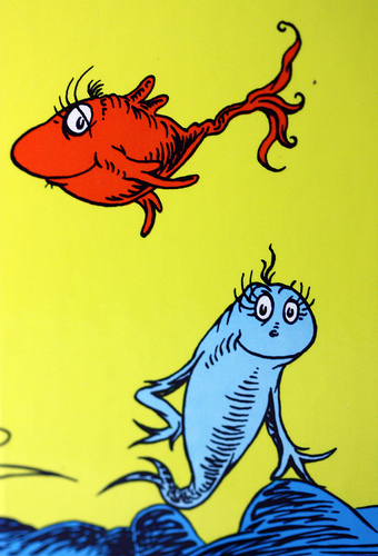 Look love create one fish two fish red fish blue for Red fish blue fish dr seuss