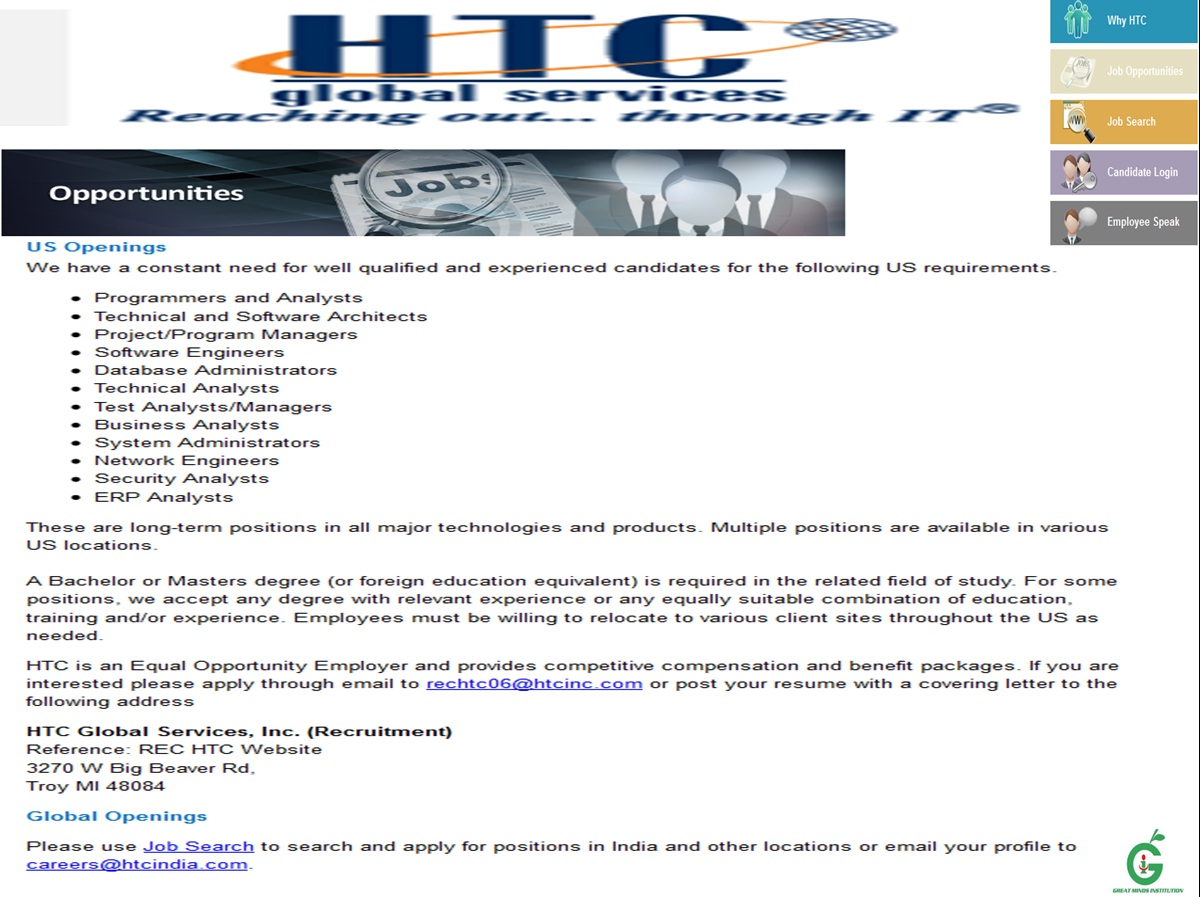2012 and 2011 Freshers Walk-in @ HTC Global Services - From 30th ...