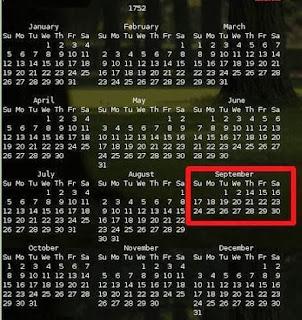 Misteri Hilangnya 11 Hari Pada Bulan September 1752