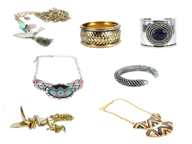 sautoirs, bracelet, manchettes, boucles d'oreilles