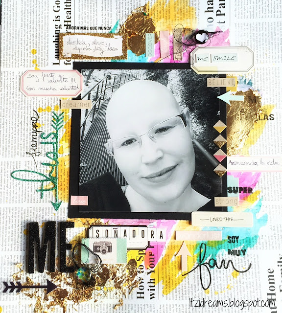 Reto Kimidori, Scrapbook, Scrapbooking, layout, mix media, Maggi Holmes, watercolors, peerless, This is Me, Gold Leaf
