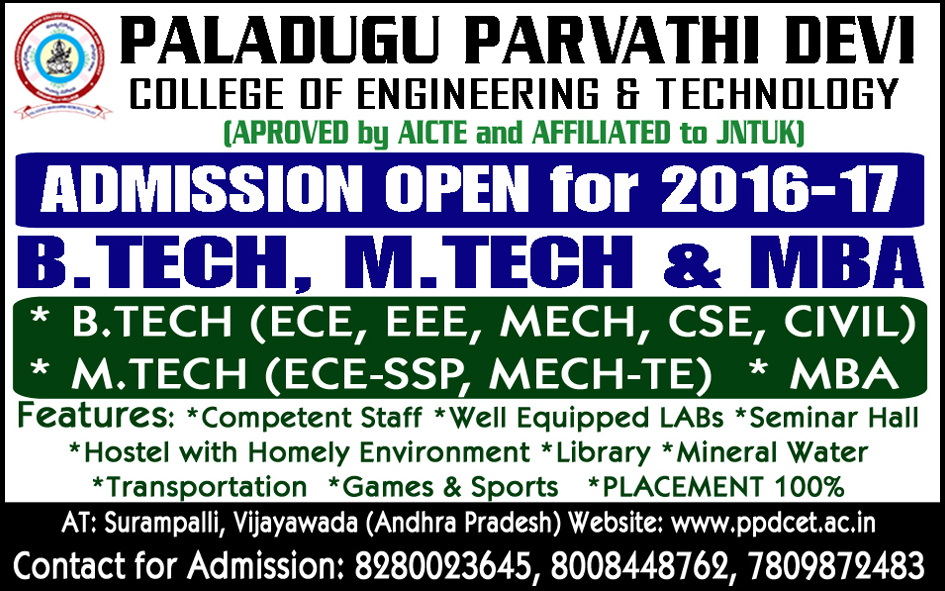 MBA, B.TECH, M.TECH Admission 2016-17