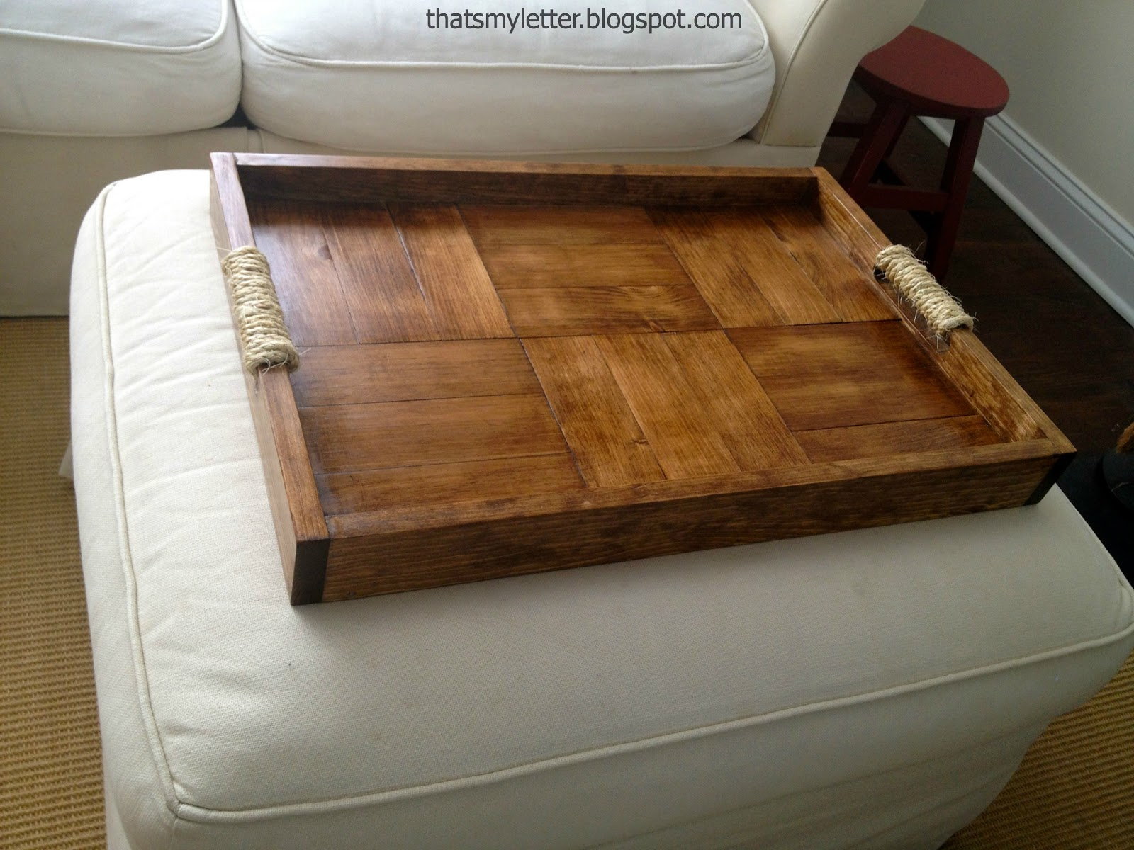 That 39 s my letter diy ottoman tray Ottoman coffee table trays