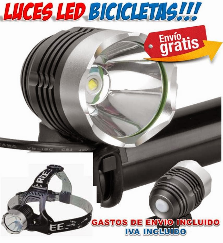 Luces delanteras para bicicletas con led cree para rutas - Que es la luz led ...