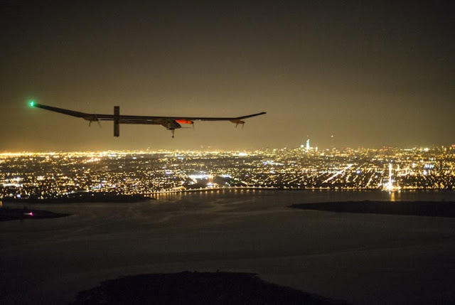The solar impulse powered by the sun lands at New York.