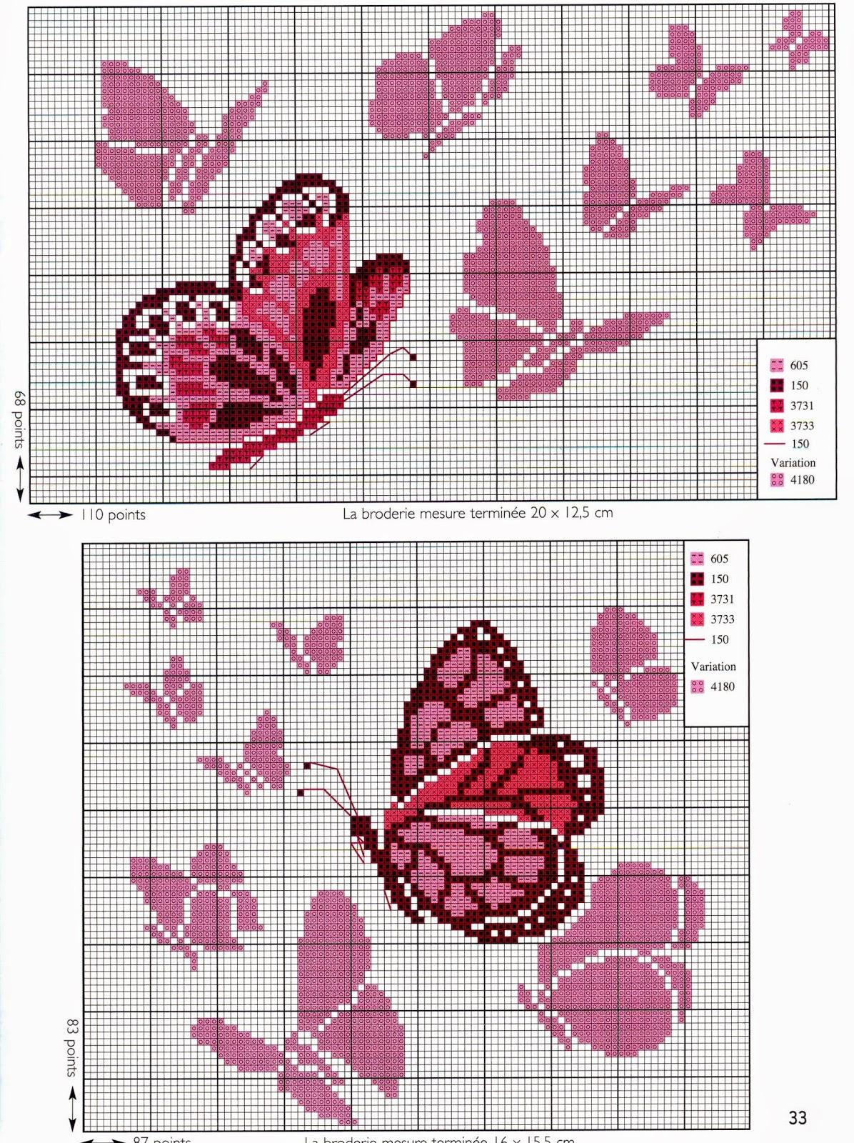 Grande raccolta di schemi e grafici per punto croce free for Farfalle a punto croce gratis