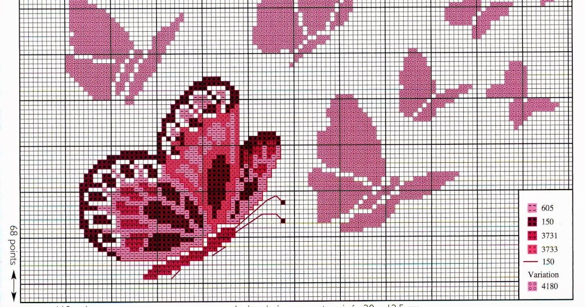 farfalle a punto croce per bambini