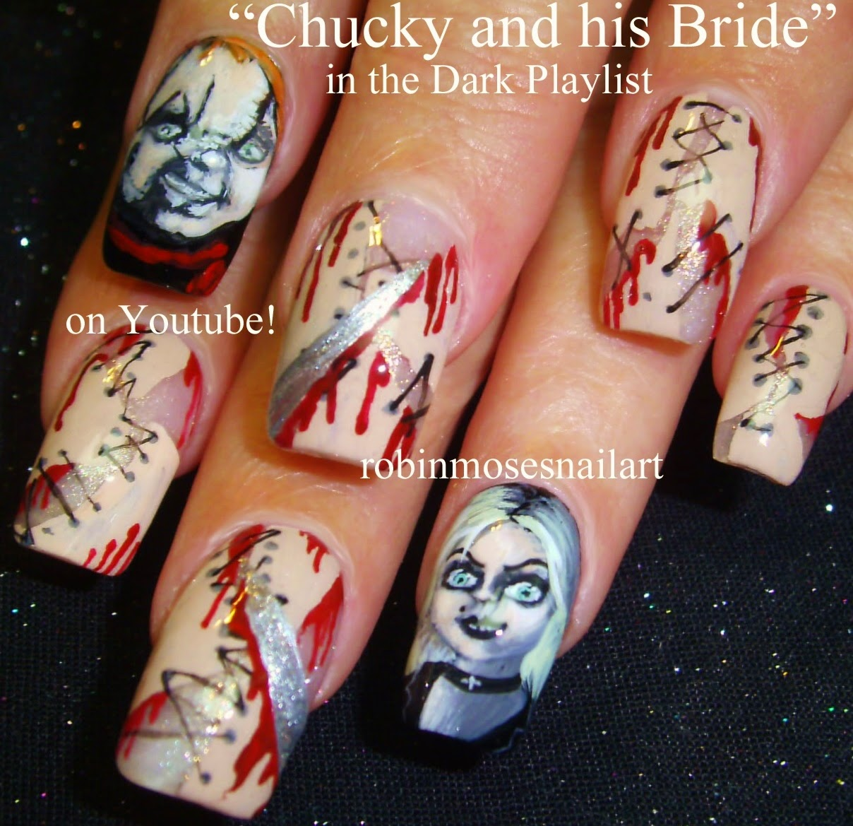 """The Ten Scariest Nail Art Designs For Halloween: Robin Moses Nail Art: """"Scary Nail Art"""" """"Halloween Nails"""