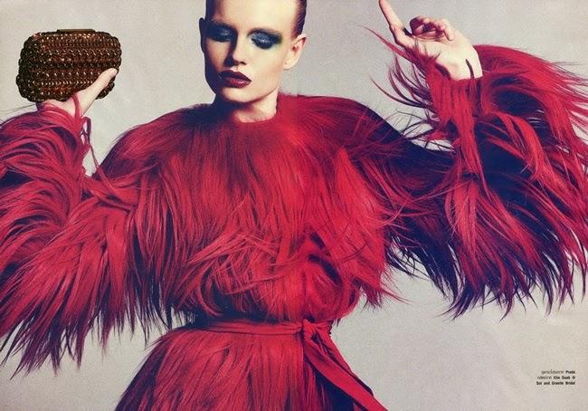 Prada 2014 AW Red Goats Hair Dress Editorials