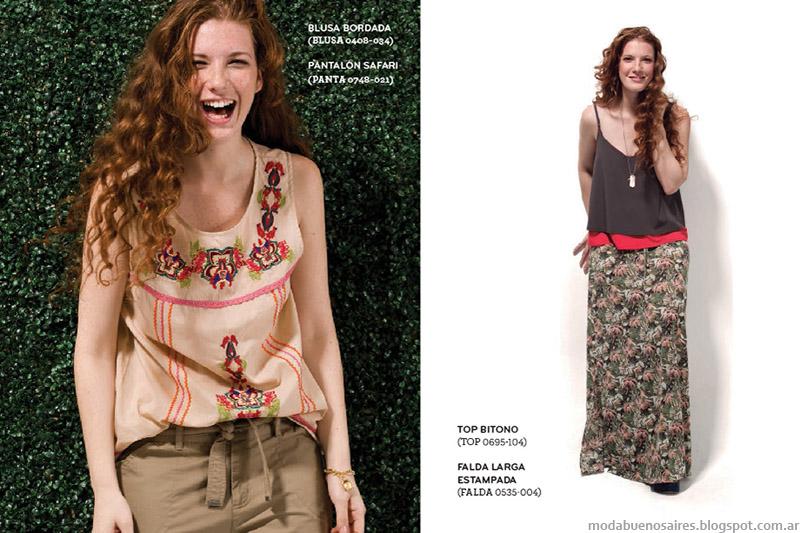 Blusas, pantalones, polleras largas y tops verano 2015. Ver moda verano 2015.