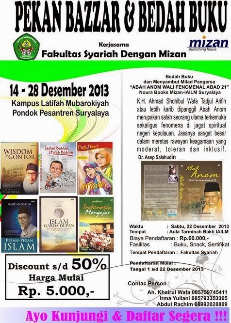 Pekan Bazar dan Bedah Buku Kerjasama Fakultas Syariah IAILM Dengan Mizan (14-28 Des.2013)