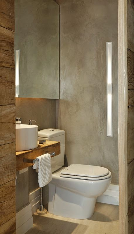 JORNAL PONTO COM 12 Banheiros e lavabos com porcelanato que imita madeira!! -> Pia De Banheiro Ponto Frio