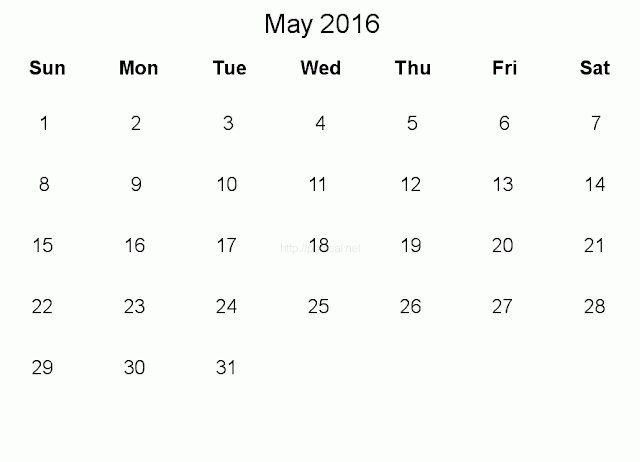 May 2016 Printable Calendar Cute, May 2016 Calendar with Holidays Free, May 2016 Calendar Word Excel PDF, May 2016 Blank Calendar Download Free
