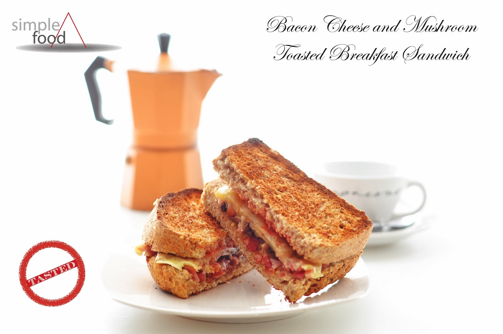 Bacon Cheese and Mushroom Toasted Breakfast Sandwich ~ Simple Food
