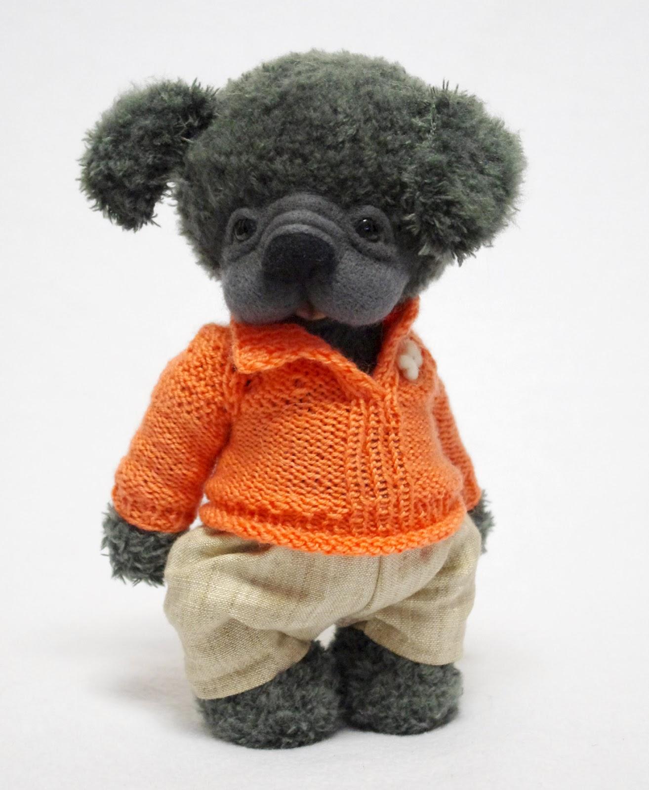 собачка,  пёсик, мишка тедди, друзья тедди, авторские игрушки,  игрушки ручной работы, собачка в одежке
