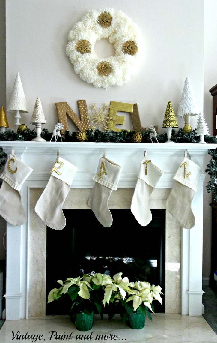 Vintage, Paint and more... DIY and crafted pieces for a Christmas mantel, yarn wreath, drop cloth stockings, crafted Christmas trees