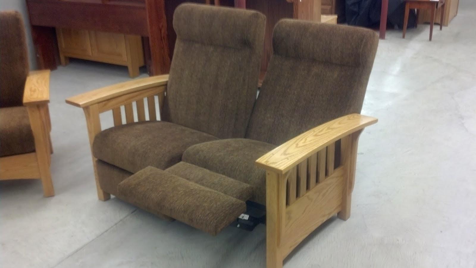 Binghamton Furniture Mission Reclining Loveseat Push