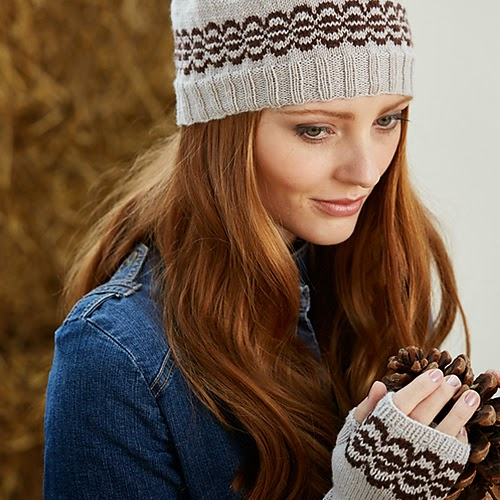 Junko colourwork hat and fingerless mitten set pattern by Katya Frankel for Yarn Stories