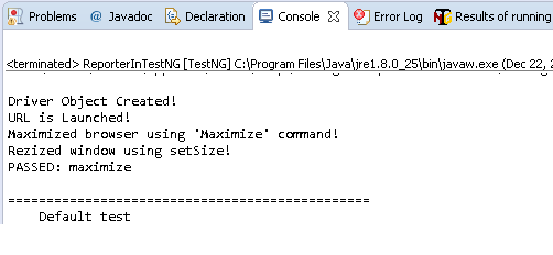 Console output in TestNg